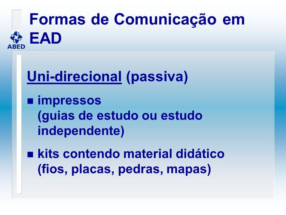 Formas de Comunicação em EAD Uni-direcional (passiva) n impressos (guias de estudo ou estudo independente) n kits contendo material didático (fios, pl