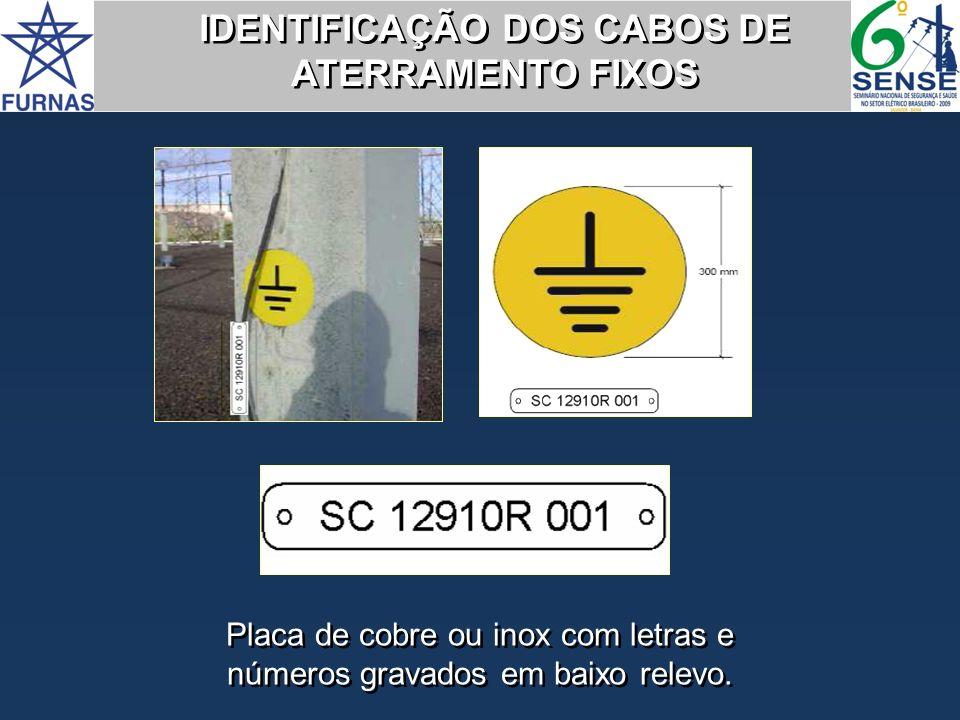 IDENTIFICAÇÃO DOS CABOS DE ATERRAMENTO FIXOS Placa de cobre ou inox com letras e números gravados em baixo relevo.