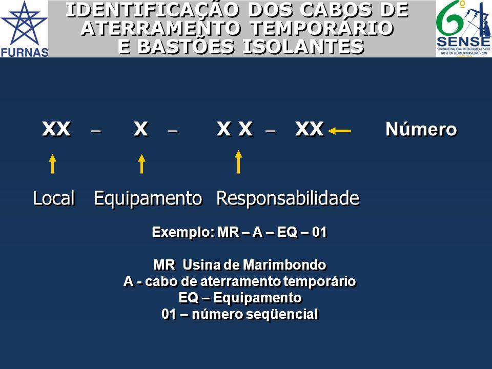 IDENTIFICAÇÃO DOS CABOS DE ATERRAMENTO TEMPORÁRIO E BASTÕES ISOLANTES IDENTIFICAÇÃO DOS CABOS DE ATERRAMENTO TEMPORÁRIO E BASTÕES ISOLANTES XX – X – X