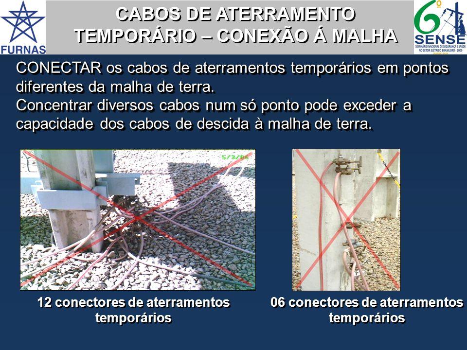 CABOS DE ATERRAMENTO TEMPORÁRIO – CONEXÃO Á MALHA CABOS DE ATERRAMENTO TEMPORÁRIO – CONEXÃO Á MALHA CONECTAR os cabos de aterramentos temporários em p