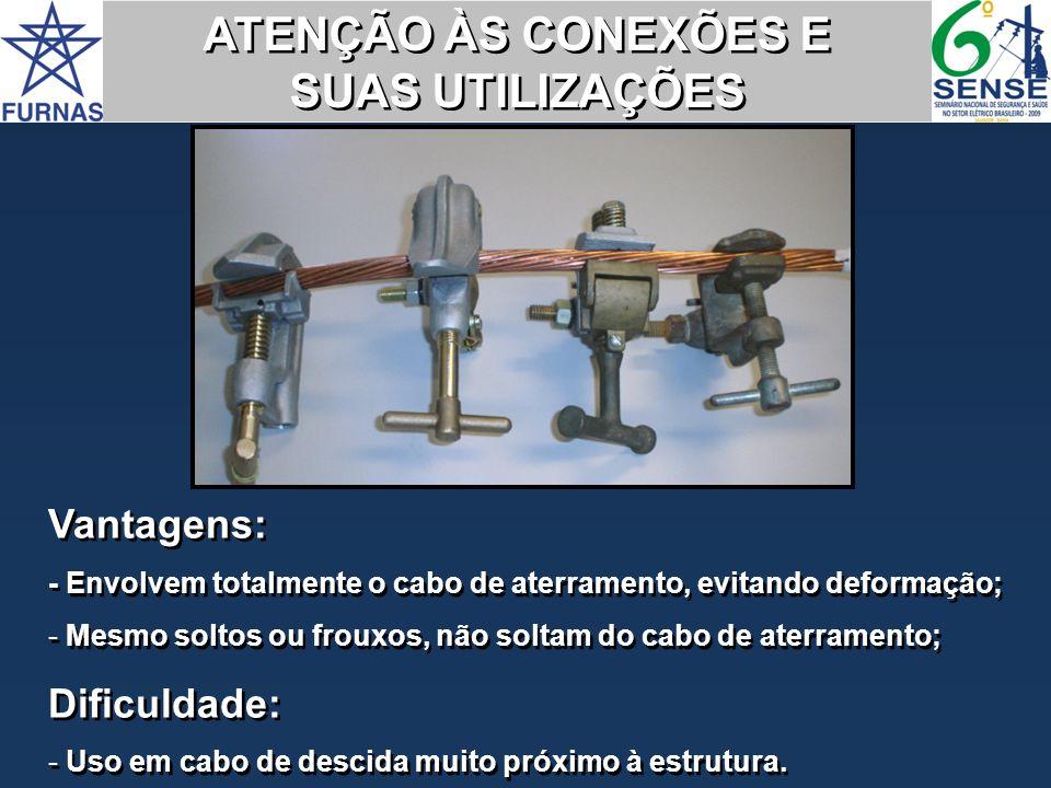 Vantagens: - Envolvem totalmente o cabo de aterramento, evitando deformação; - Mesmo soltos ou frouxos, não soltam do cabo de aterramento; Dificuldade
