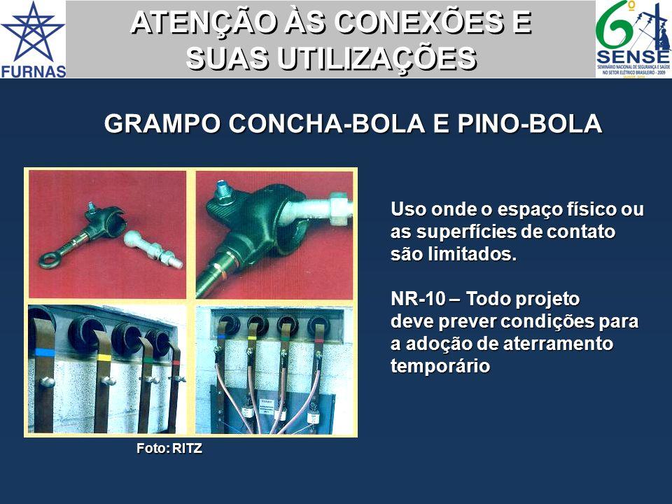 GRAMPO CONCHA-BOLA E PINO-BOLA Foto: RITZ Uso onde o espaço físico ou as superfícies de contato são limitados. NR-10 – Todo projeto deve prever condiç