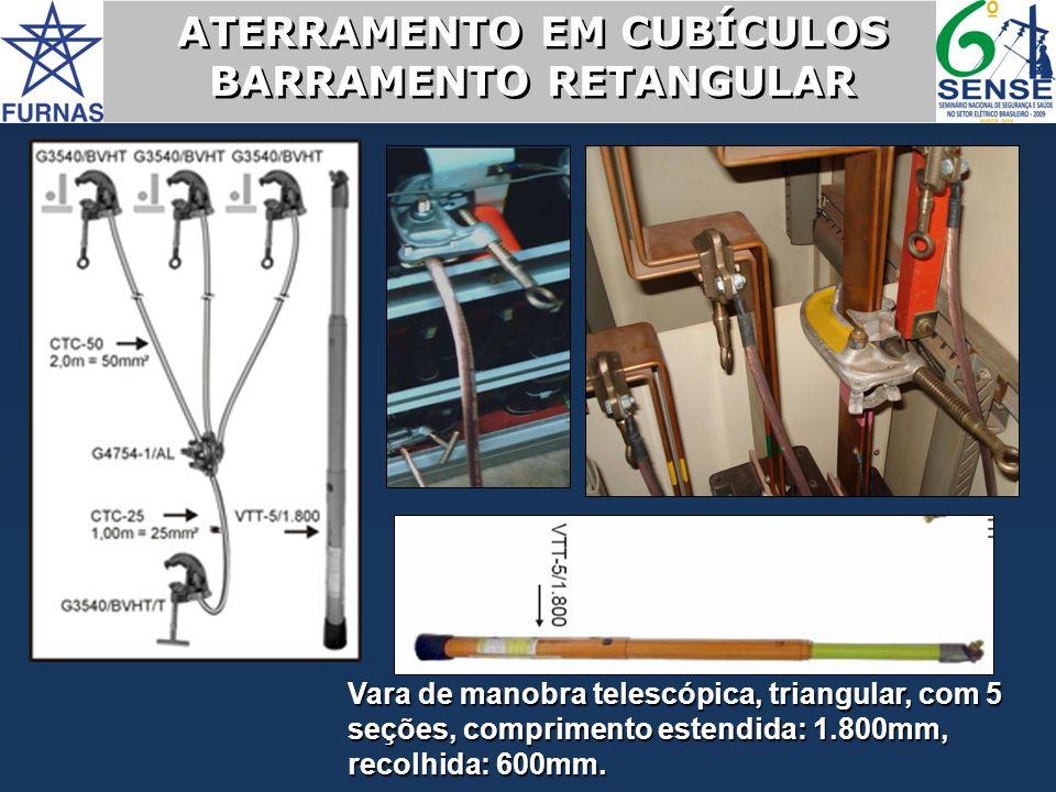 ATERRAMENTO EM CUBÍCULOS BARRAMENTO RETANGULAR ATERRAMENTO EM CUBÍCULOS BARRAMENTO RETANGULAR Vara de manobra telescópica, triangular, com 5 seções, c