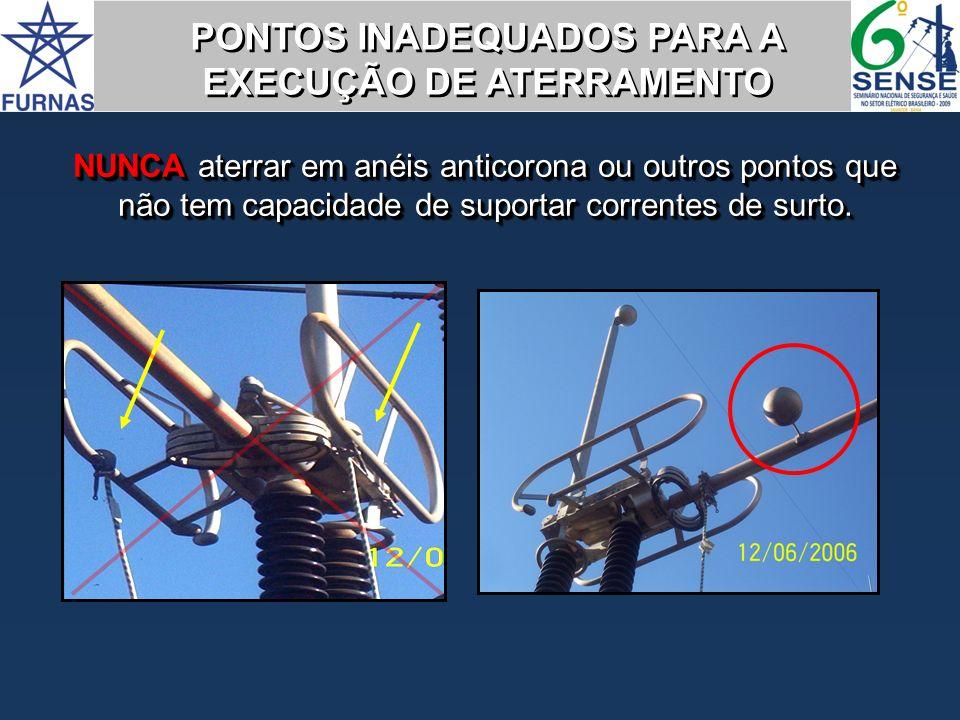 NUNCA aterrar em anéis anticorona ou outros pontos que não tem capacidade de suportar correntes de surto. PONTOS INADEQUADOS PARA A EXECUÇÃO DE ATERRA