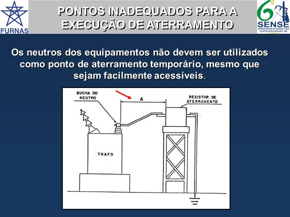 Os neutros dos equipamentos não devem ser utilizados como ponto de aterramento temporário, mesmo que sejam facilmente acessíveis. PONTOS INADEQUADOS P