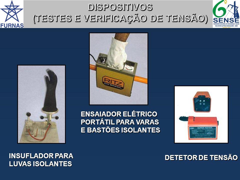 DETETOR DE TENSÃO ENSAIADOR ELÉTRICO PORTÁTIL PARA VARAS E BASTÕES ISOLANTES INSUFLADOR PARA LUVAS ISOLANTES