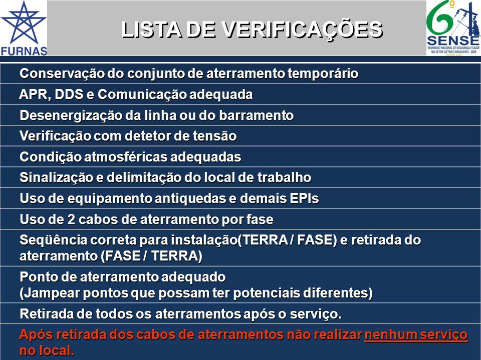 Conservação do conjunto de aterramento temporário Conservação do conjunto de aterramento temporário APR, DDS e Comunicação adequada APR, DDS e Comunic