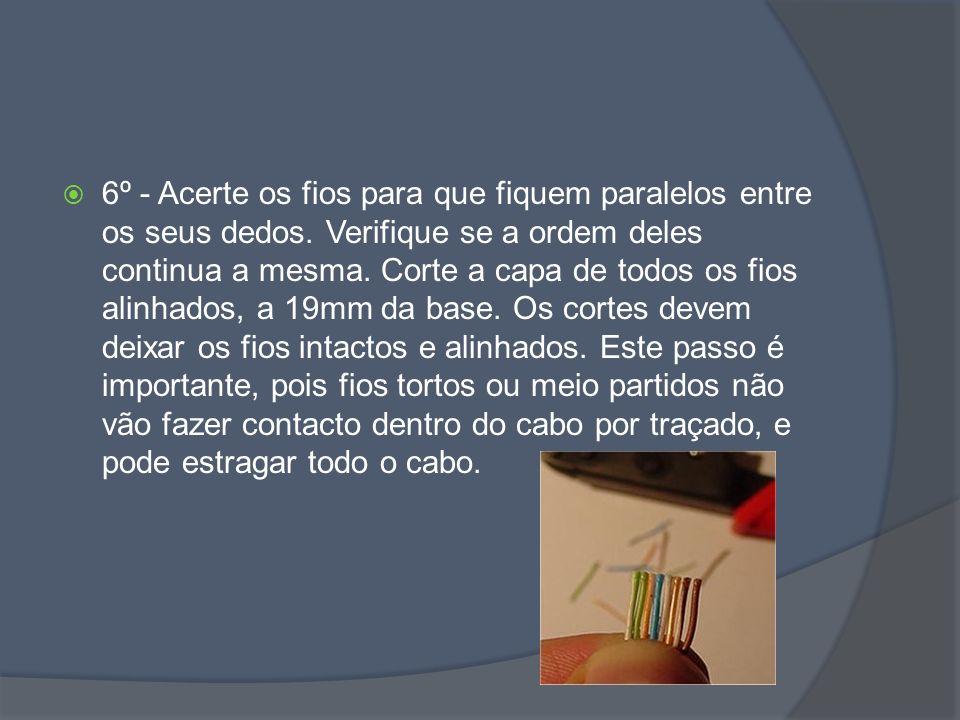 6º - Acerte os fios para que fiquem paralelos entre os seus dedos.