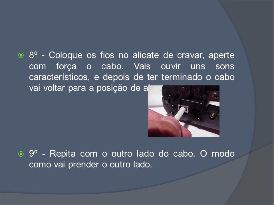 8º - Coloque os fios no alicate de cravar, aperte com força o cabo.