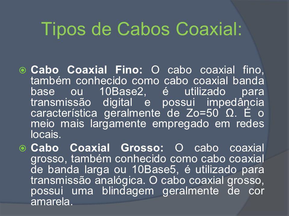 Tipos de Cabos Coaxial: Cabo Coaxial Fino: O cabo coaxial fino, também conhecido como cabo coaxial banda base ou 10Base2, é utilizado para transmissão digital e possui impedância característica geralmente de Zo=50.