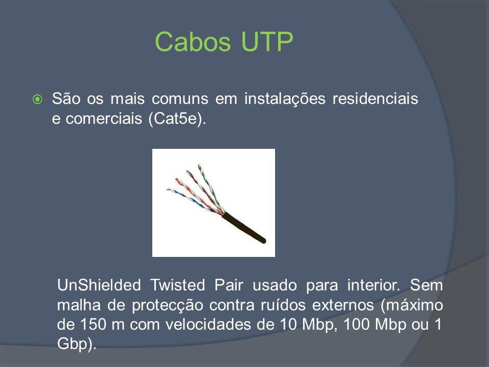 Cabos UTP São os mais comuns em instalações residenciais e comerciais (Cat5e).