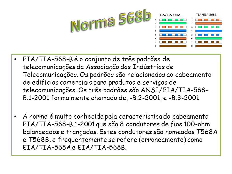 EIA/TIA-568-B é o conjunto de três padrões de telecomunicações da Associação das Indústrias de Telecomunicações. Os padrões são relacionados ao cabeam