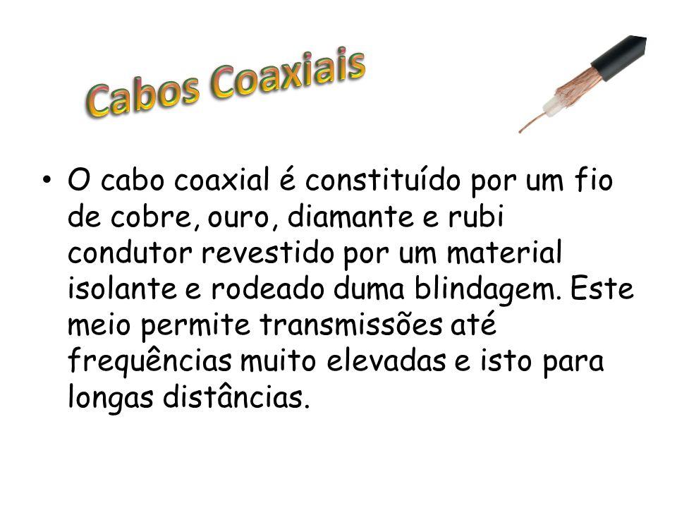 O cabo coaxial é constituído por um fio de cobre, ouro, diamante e rubi condutor revestido por um material isolante e rodeado duma blindagem. Este mei