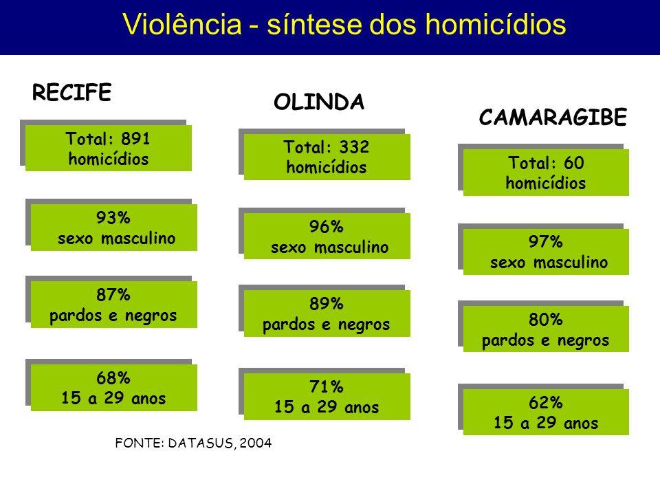 Violência - síntese dos homicídios Total: 891 homicídios Total: 891 homicídios RECIFE 93% sexo masculino 93% sexo masculino 87% pardos e negros 87% pardos e negros 68% 15 a 29 anos 68% 15 a 29 anos Total: 332 homicídios Total: 332 homicídios OLINDA 96% sexo masculino 96% sexo masculino 89% pardos e negros 89% pardos e negros 71% 15 a 29 anos 71% 15 a 29 anos Total: 60 homicídios Total: 60 homicídios CAMARAGIBE 97% sexo masculino 97% sexo masculino 80% pardos e negros 80% pardos e negros 62% 15 a 29 anos 62% 15 a 29 anos FONTE: DATASUS, 2004