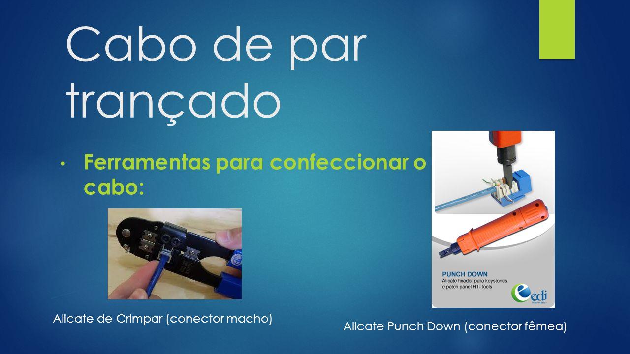 Cabo de par trançado Ferramentas para confeccionar o cabo: Alicate de Crimpar (conector macho) Alicate Punch Down (conector fêmea)