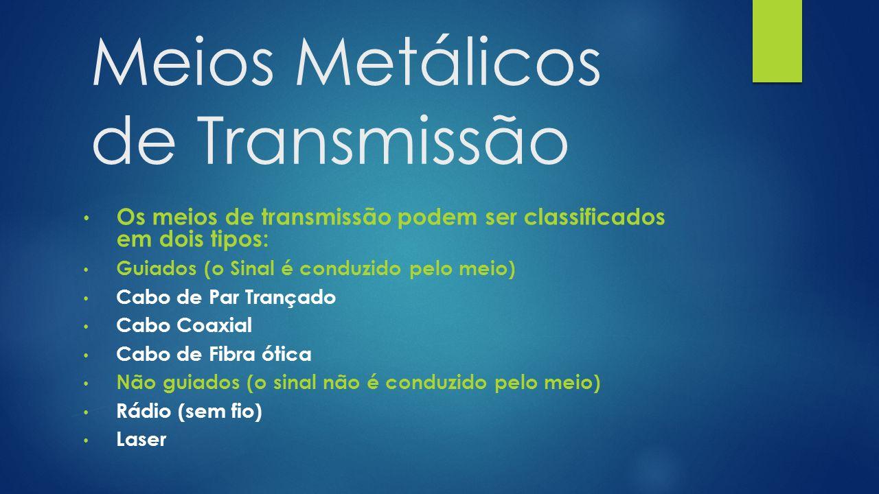 Meios Metálicos de Transmissão Os meios de transmissão podem ser classificados em dois tipos: Guiados (o Sinal é conduzido pelo meio) Cabo de Par Trançado Cabo Coaxial Cabo de Fibra ótica Não guiados (o sinal não é conduzido pelo meio) Rádio (sem fio) Laser