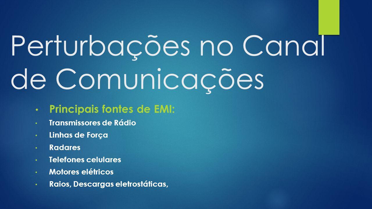 Perturbações no Canal de Comunicações Principais fontes de EMI: Transmissores de Rádio Linhas de Força Radares Telefones celulares Motores elétricos Raios, Descargas eletrostáticas,