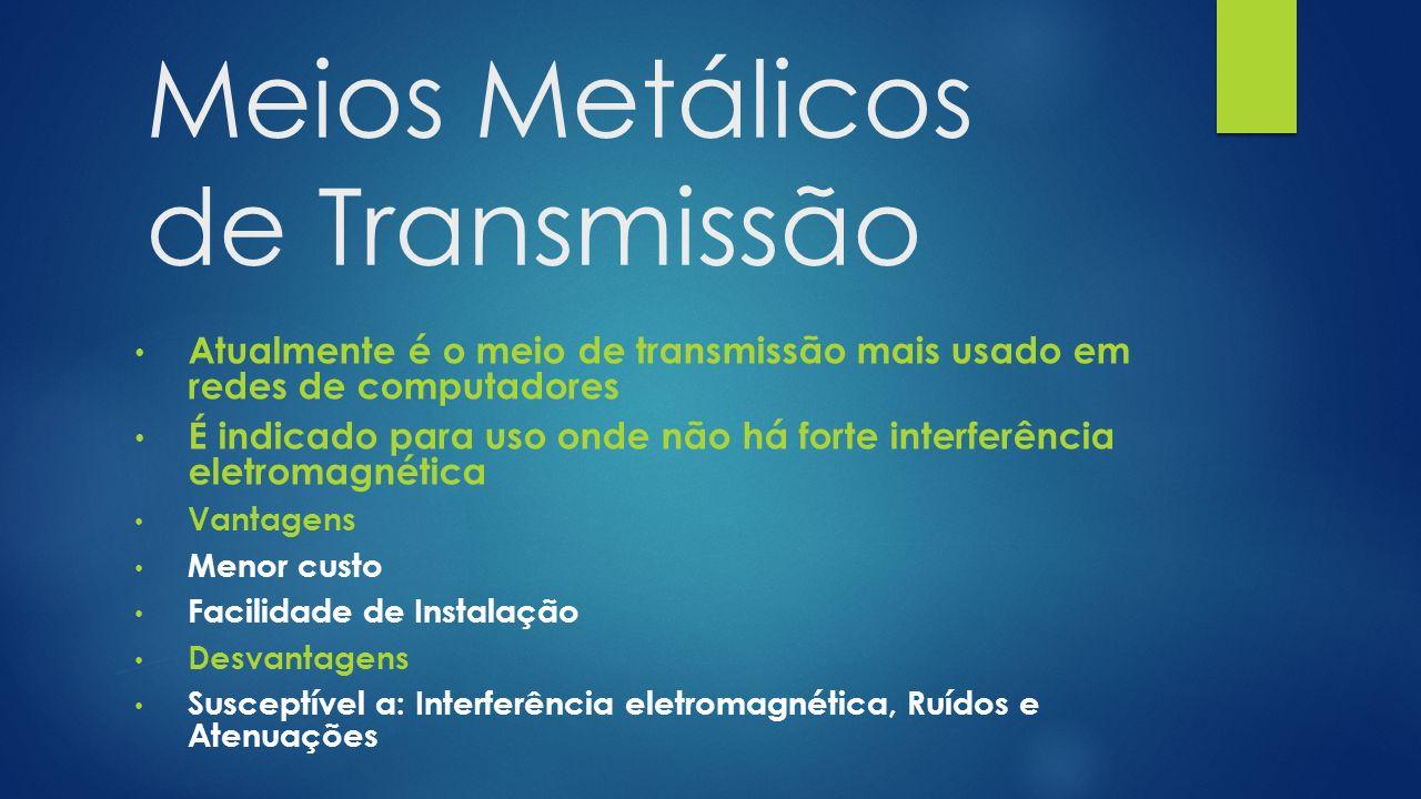 Meios Metálicos de Transmissão Atualmente é o meio de transmissão mais usado em redes de computadores É indicado para uso onde não há forte interferên