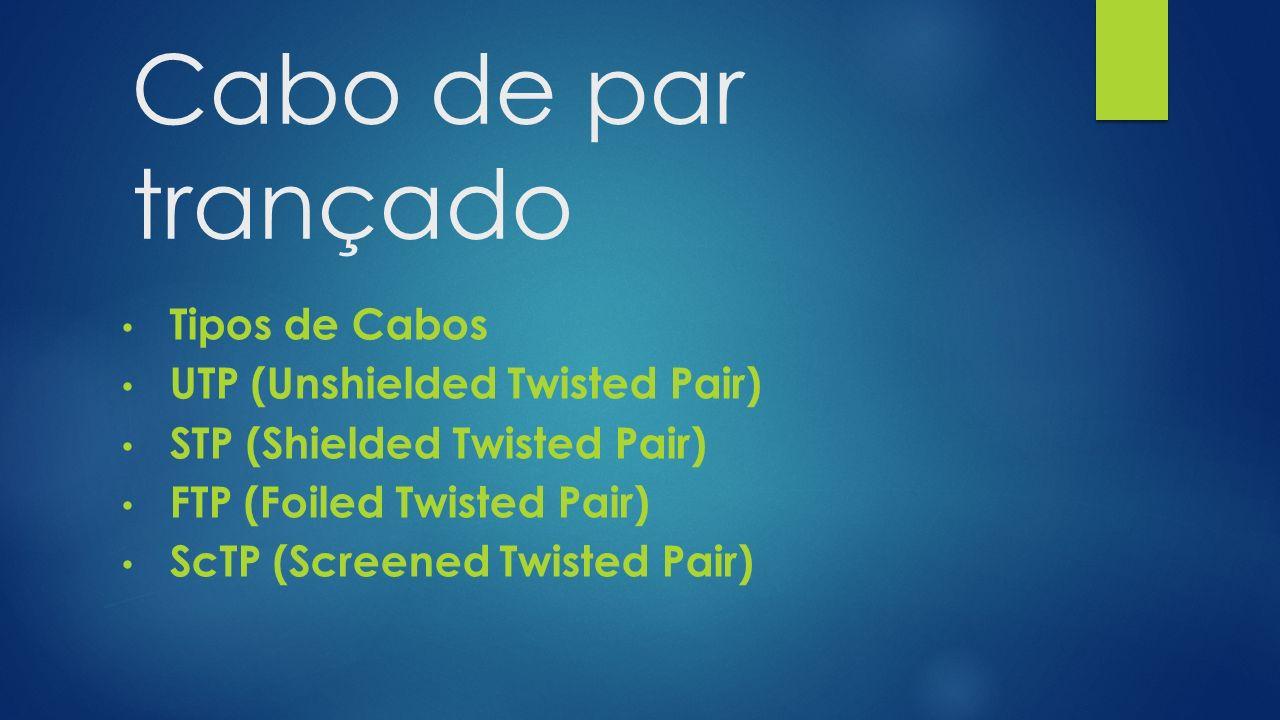 Cabo de par trançado Tipos de Cabos UTP (Unshielded Twisted Pair) STP (Shielded Twisted Pair) FTP (Foiled Twisted Pair) ScTP (Screened Twisted Pair)
