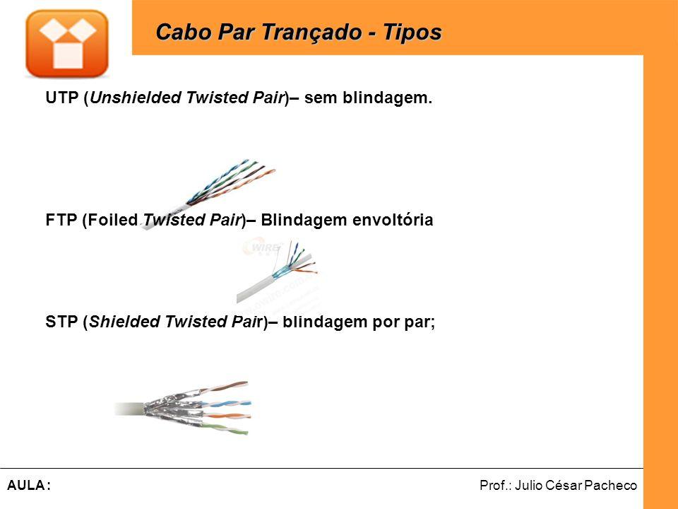 Ferramentas de Desenvolvimento Web Prof.: Julio César PachecoAULA : Cabo Par Trançado - Tipos Cabo Par Trançado - Tipos UTP (Unshielded Twisted Pair)–
