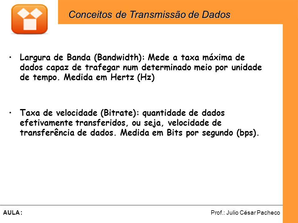 Ferramentas de Desenvolvimento Web Prof.: Julio César PachecoAULA : Largura de Banda (Bandwidth): Mede a taxa máxima de dados capaz de trafegar num de