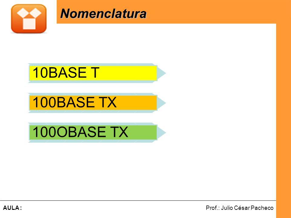 Ferramentas de Desenvolvimento Web Prof.: Julio César PachecoAULA : Nomenclatura 10BASE T 100BASE TX 100OBASE TX 10, 100 e 1000 velocidade em Mbps A p