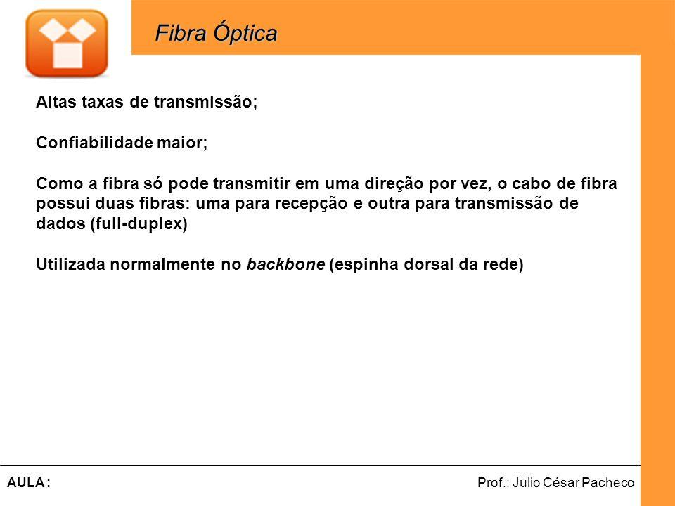 Ferramentas de Desenvolvimento Web Prof.: Julio César PachecoAULA : Fibra Óptica Fibra Óptica Altas taxas de transmissão; Confiabilidade maior; Como a