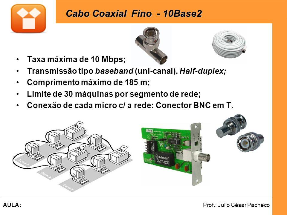 Ferramentas de Desenvolvimento Web Prof.: Julio César PachecoAULA : Taxa máxima de 10 Mbps; Transmissão tipo baseband (uni-canal). Half-duplex; Compri