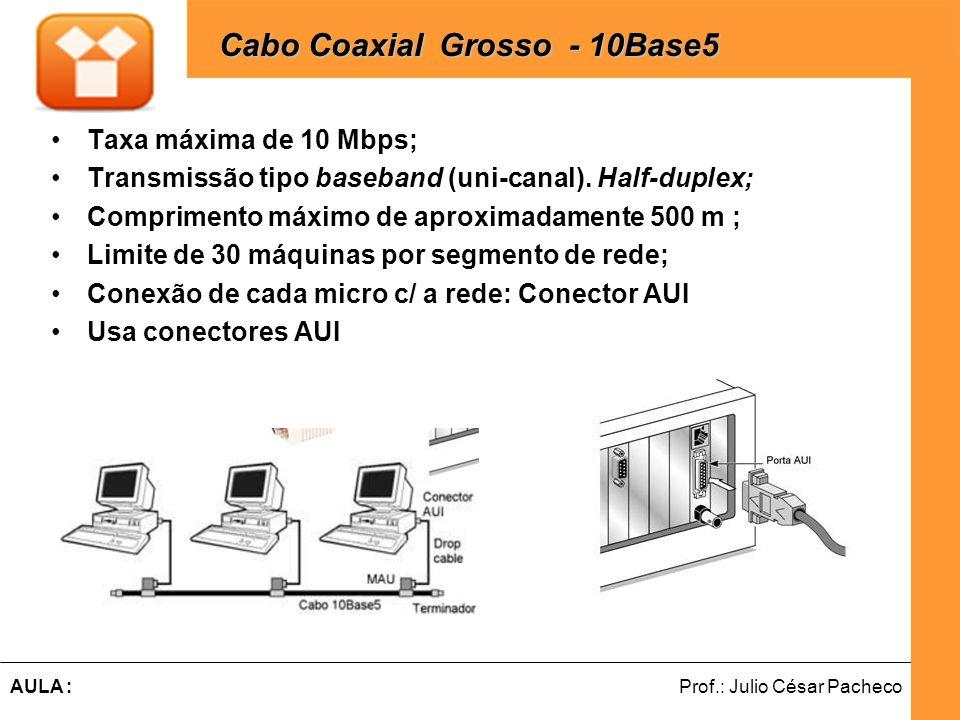 Ferramentas de Desenvolvimento Web Prof.: Julio César PachecoAULA : Cabo Coaxial -Tipos de Transmissão Transmissão Baseband: Uni-canal; Digital; Unidirecional ; Half-duplex.