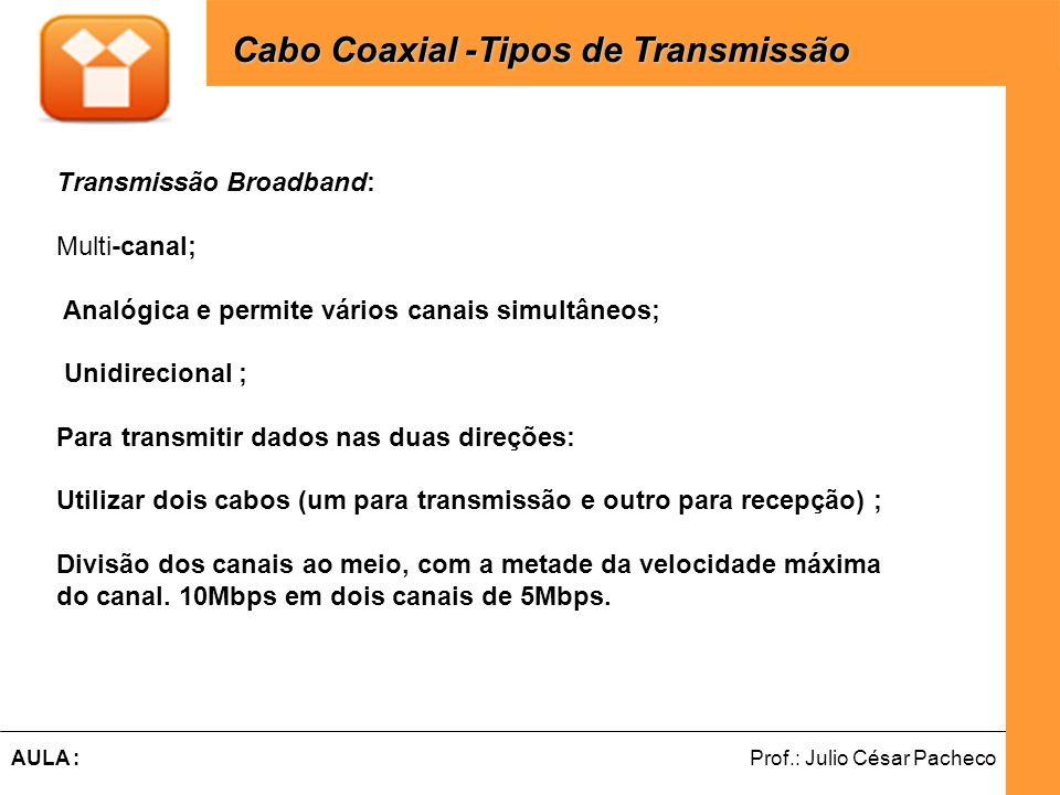 Ferramentas de Desenvolvimento Web Prof.: Julio César PachecoAULA : Cabo Coaxial -Tipos de Transmissão Transmissão Broadband: Multi-canal; Analógica e