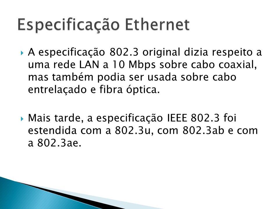A especificação 802.3 original dizia respeito a uma rede LAN a 10 Mbps sobre cabo coaxial, mas também podia ser usada sobre cabo entrelaçado e fibra óptica.