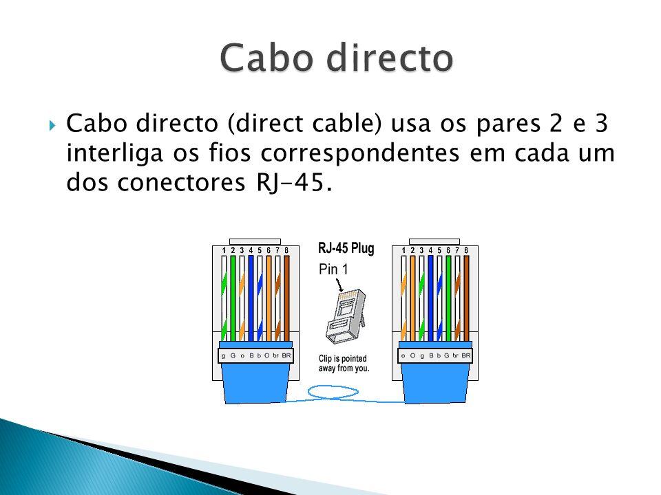 Cabo directo (direct cable) usa os pares 2 e 3 interliga os fios correspondentes em cada um dos conectores RJ-45.