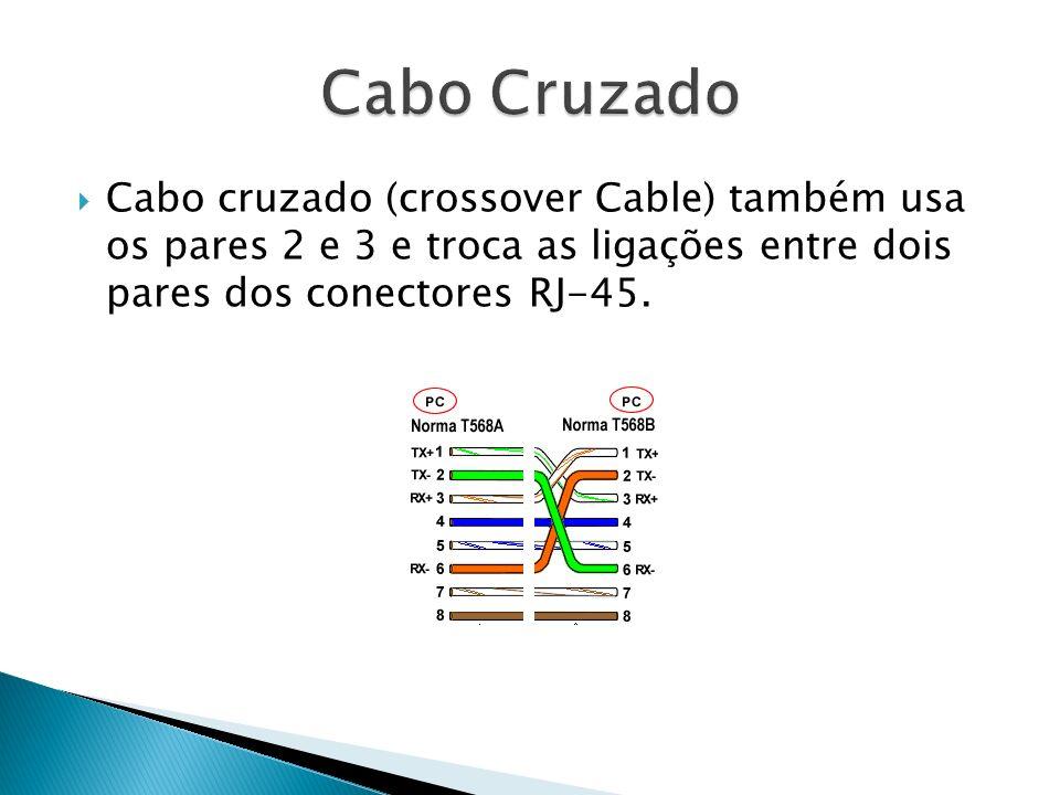 Cabo cruzado (crossover Cable) também usa os pares 2 e 3 e troca as ligações entre dois pares dos conectores RJ-45.