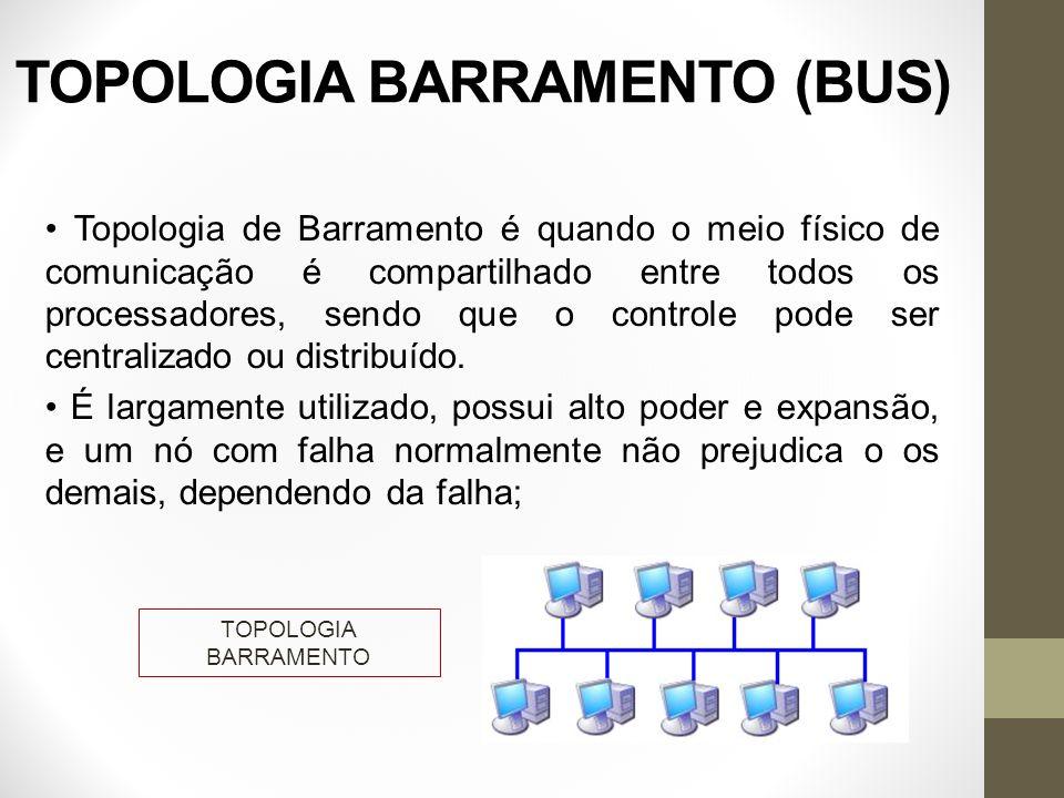 TOPOLOGIA BARRAMENTO (BUS) Topologia de Barramento é quando o meio físico de comunicação é compartilhado entre todos os processadores, sendo que o con
