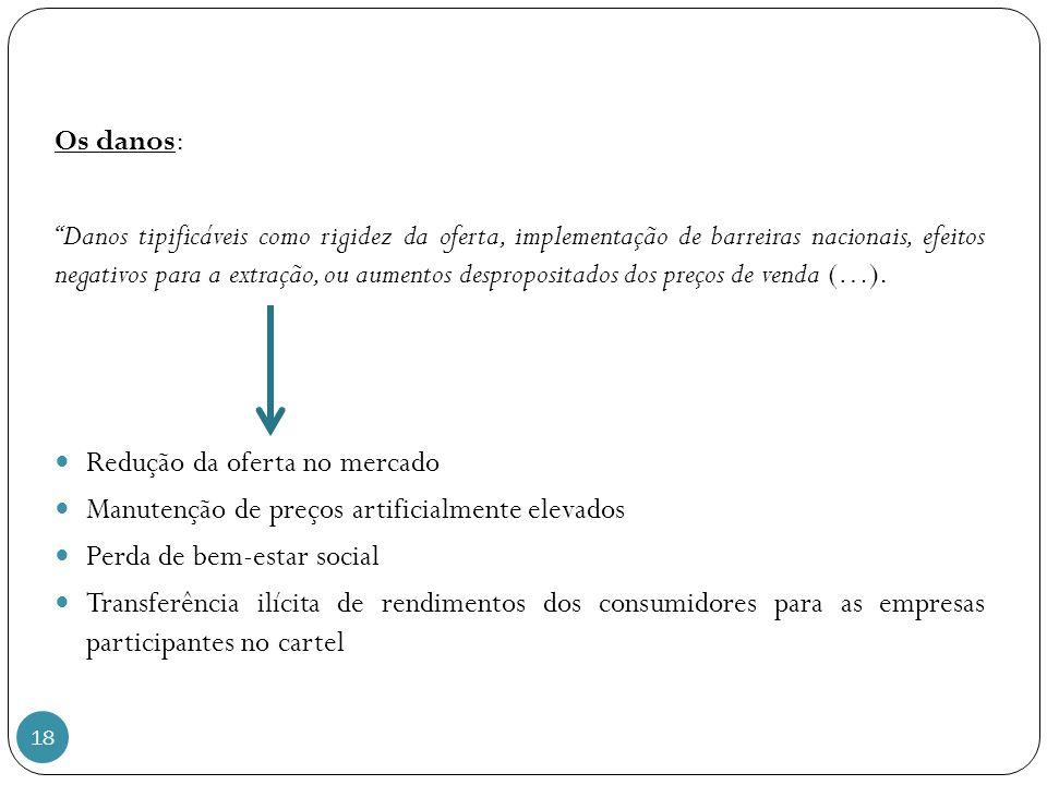 18 Os danos: Danos tipificáveis como rigidez da oferta, implementação de barreiras nacionais, efeitos negativos para a extração, ou aumentos despropositados dos preços de venda (…).