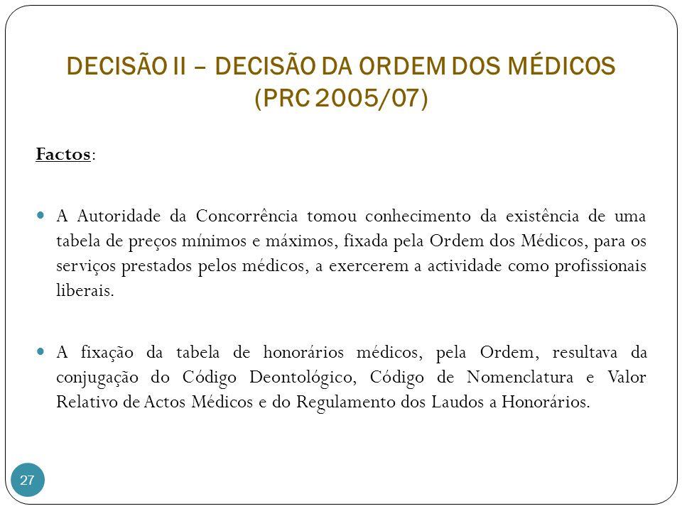 27 Factos: A Autoridade da Concorrência tomou conhecimento da existência de uma tabela de preços mínimos e máximos, fixada pela Ordem dos Médicos, para os serviços prestados pelos médicos, a exercerem a actividade como profissionais liberais.