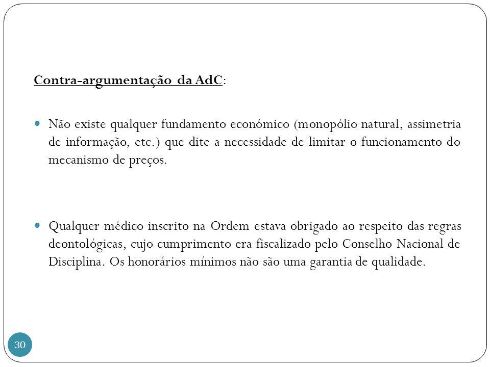 30 Contra-argumentação da AdC: Não existe qualquer fundamento económico (monopólio natural, assimetria de informação, etc.) que dite a necessidade de limitar o funcionamento do mecanismo de preços.
