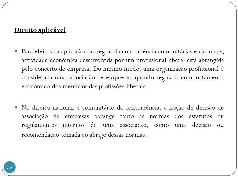 32 Direito aplicável: Para efeitos da aplicação das regras da concorrência comunitárias e nacionais, actividade económica desenvolvida por um profissional liberal está abrangida pelo conceito de empresa.