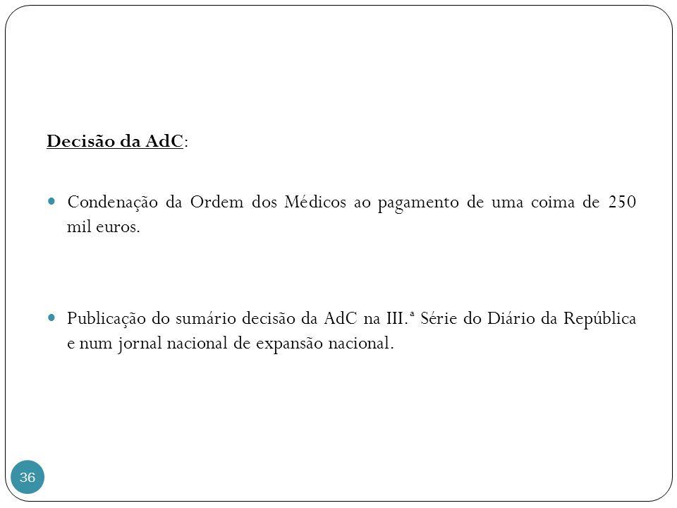 36 Decisão da AdC: Condenação da Ordem dos Médicos ao pagamento de uma coima de 250 mil euros.