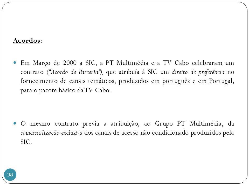38 Acordos: Em Março de 2000 a SIC, a PT Multimédia e a TV Cabo celebraram um contrato (Acordo de Parceria), que atribuía à SIC um direito de preferência no fornecimento de canais temáticos, produzidos em português e em Portugal, para o pacote básico da TV Cabo.