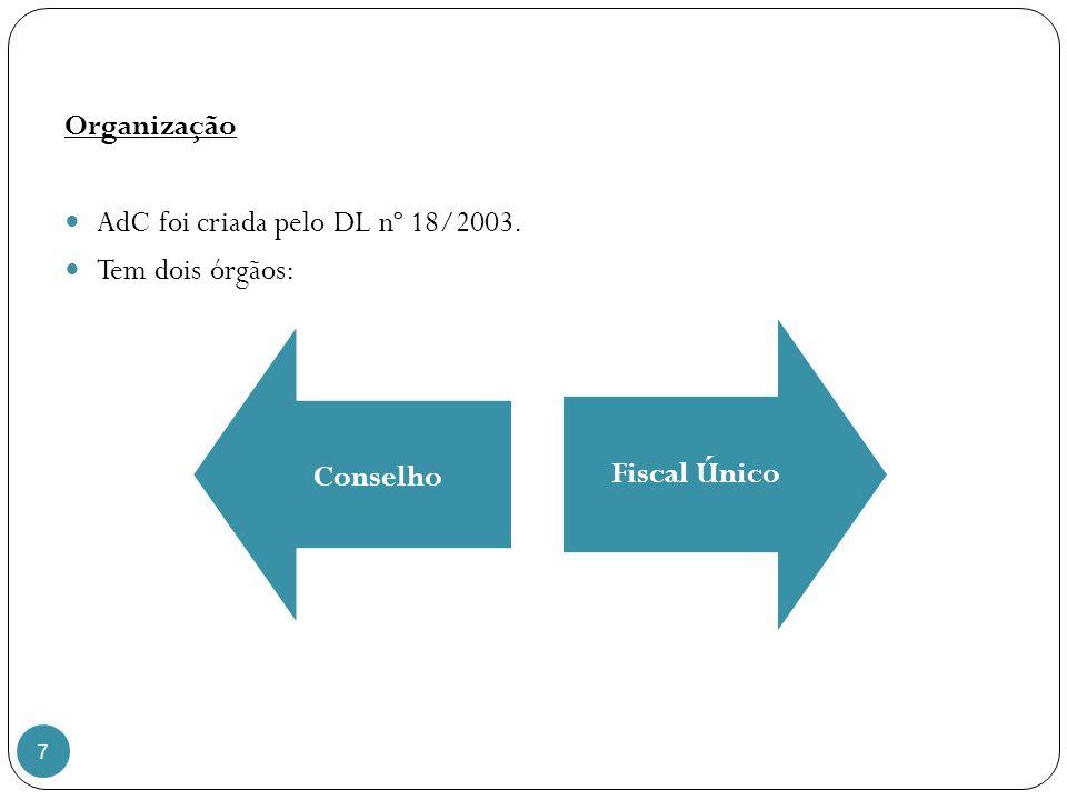 7 Organização AdC foi criada pelo DL nº 18/2003. Tem dois órgãos: Conselho Fiscal Único