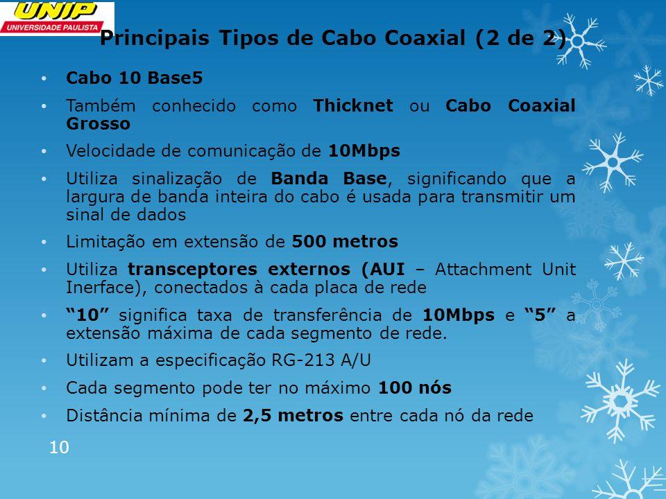 Principais Tipos de Cabo Coaxial (2 de 2) Cabo 10 Base5 Também conhecido como Thicknet ou Cabo Coaxial Grosso Velocidade de comunicação de 10Mbps Util