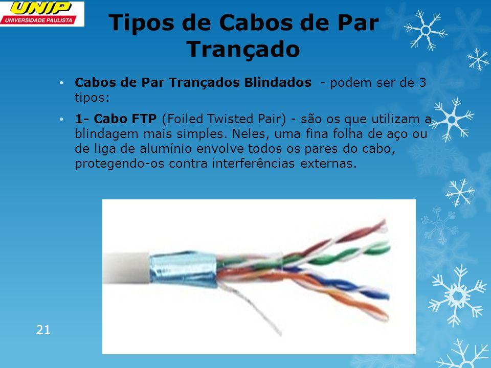 Tipos de Cabos de Par Trançado 21 Cabos de Par Trançados Blindados - podem ser de 3 tipos: 1- Cabo FTP (Foiled Twisted Pair) - são os que utilizam a b