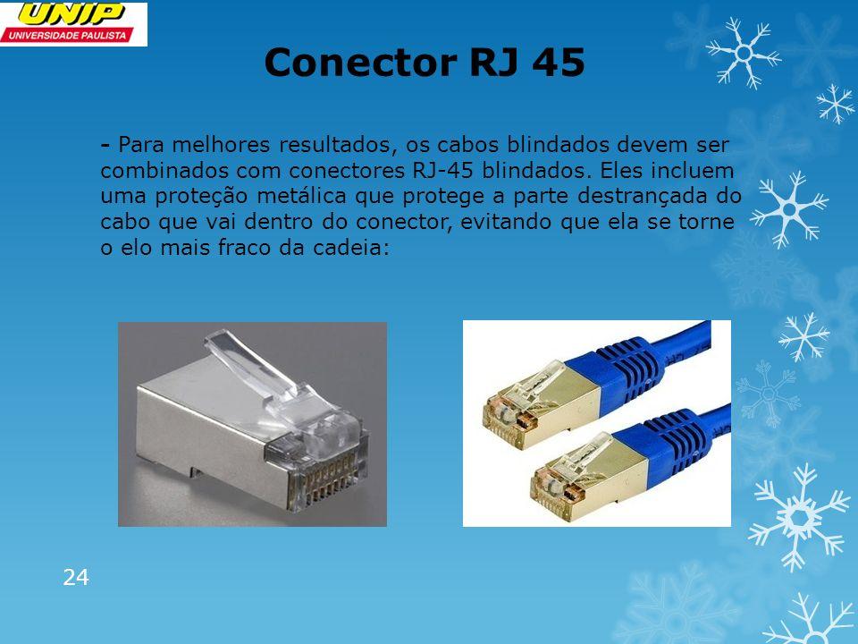 Conector RJ 45 24 - Para melhores resultados, os cabos blindados devem ser combinados com conectores RJ-45 blindados. Eles incluem uma proteção metáli