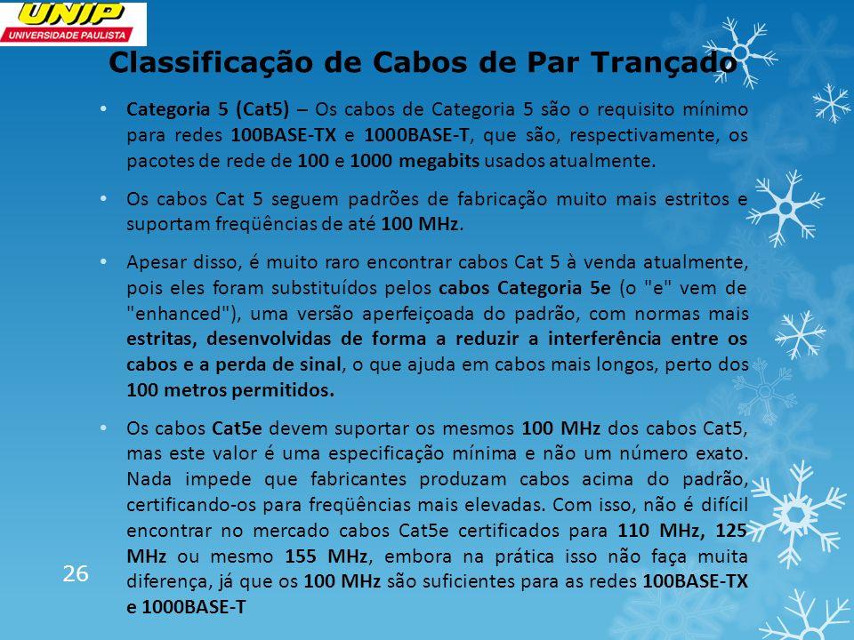 Classificação de Cabos de Par Trançado 26 Categoria 5 (Cat5) – Os cabos de Categoria 5 são o requisito mínimo para redes 100BASE-TX e 1000BASE-T, que