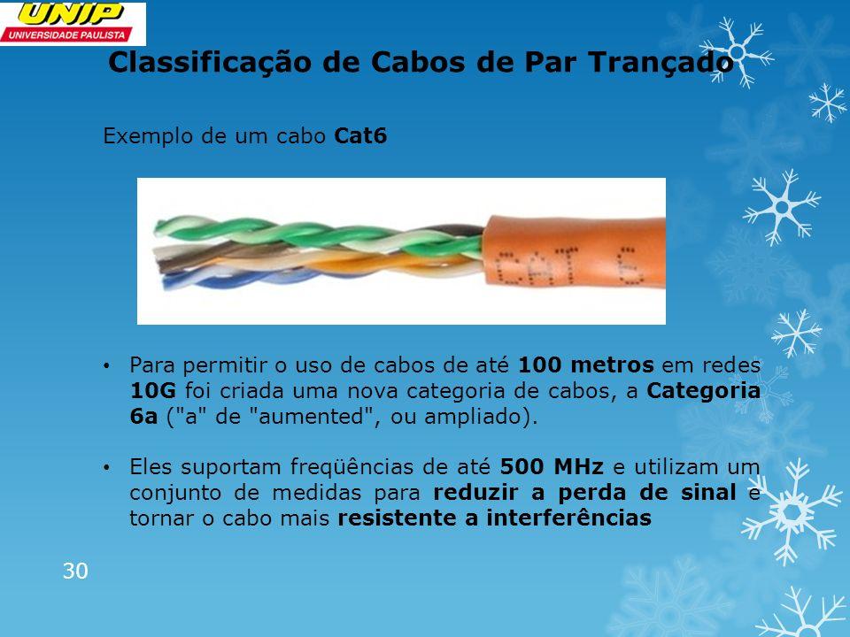 Classificação de Cabos de Par Trançado 30 Exemplo de um cabo Cat6 Para permitir o uso de cabos de até 100 metros em redes 10G foi criada uma nova cate