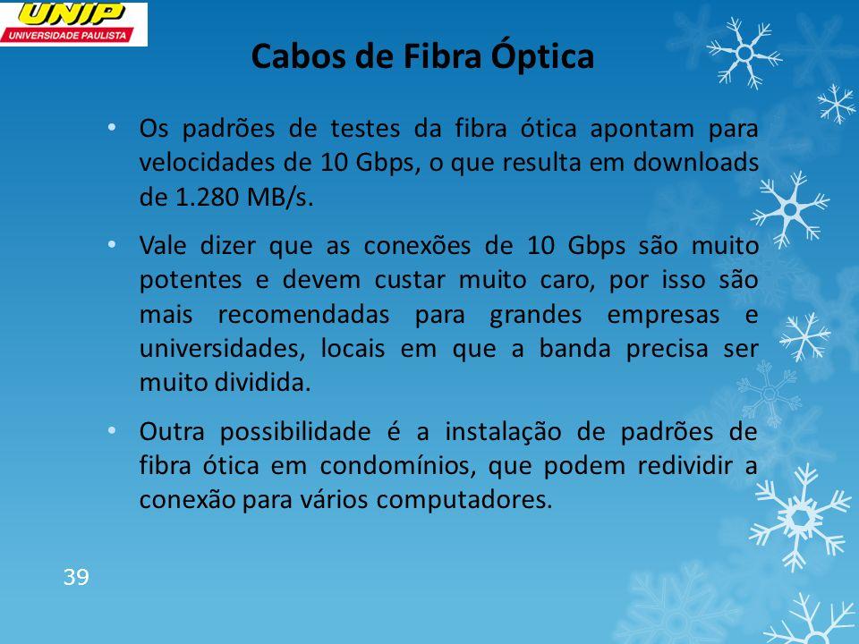 Cabos de Fibra Óptica Os padrões de testes da fibra ótica apontam para velocidades de 10 Gbps, o que resulta em downloads de 1.280 MB/s. Vale dizer qu