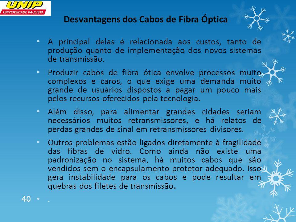 Desvantagens dos Cabos de Fibra Óptica A principal delas é relacionada aos custos, tanto de produção quanto de implementação dos novos sistemas de tra