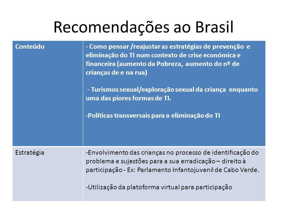 Recomendações ao Brasil Conteúdo- Como pensar /reajustar as estratégias de prevenção e eliminação do TI num contexto de crise económica e financeira (aumento da Pobreza, aumento do nº de crianças de e na rua) - Turismos sexual/exploração sexual da criança enquanto uma das piores formas de TI.