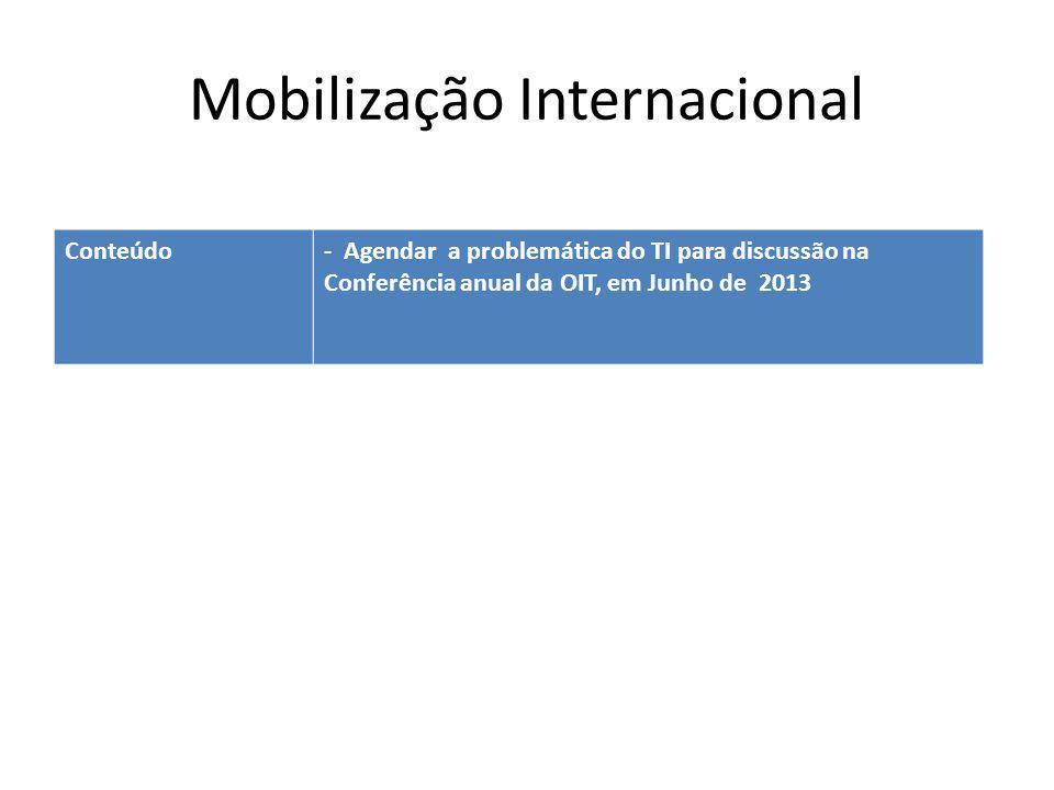Mobilização Internacional Conteúdo- Agendar a problemática do TI para discussão na Conferência anual da OIT, em Junho de 2013